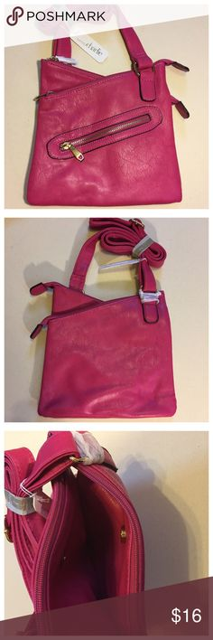 "Pink Charming Charlie Zipper Crossbody Bag NWT Pink Charming Charlie Zipper Crossbody Bag NWT --- Faux Leather --- gold exposed Zipper pocket on front of purse --- purse has two zippered compartments, with a magnetically closed pocket between the two --- The front compartment has two interior slot pockets and the back compartment has an interior zippered pocket --- 9""x9"" --- long Crossbody strap is adjustable in length Charming Charlie Bags Crossbody Bags"