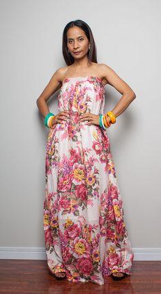 Summer Maxi Dress Pink Flower Print Maxi Dress   : Flower
