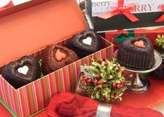 May the spirit of Christmas shine in your heart! For Chocolate Lovers - a trio of heart shaped chocolate gourmet treats in a beautiful holiday gift box! Gourmet Cakes, Gourmet Desserts, Heart Shaped Chocolate, Chocolate Lovers, Favorite Holiday, Heart Shapes, Holiday Gifts, Spirit, Gift Wrapping