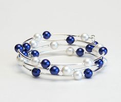 Floating Pearl Memory Wire Bracelet - Navy Blue and White Shell Pearl Bracelet - Navy and White Bridesmaid Jewelry on Etsy, $24.75 CAD