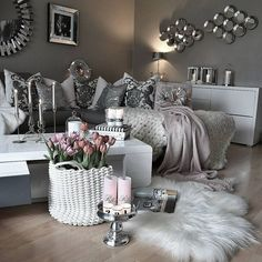 """Check my other """"home decor ideas"""" videos fancy living rooms, living room decor Living Room Grey, Home Living Room, Apartment Living, Living Room Decor, Bedroom Decor, Cozy Apartment, Apartment Design, Decor Room, Bedroom Ideas"""