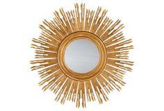 """Vienna Wall Mirror, Distressed Gold  28x28"""""""