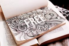 Sketchbooks by Danielle Aldrich, via Behance - Love the white text on imprinted background.