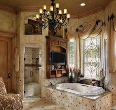 Bathroom Window Curtains, Bathroom Window Treatments, Bathroom Windows, Window Valances, Drapes Curtains, Shower Curtains, Tuscan Curtains, Bathroom Mirrors, Remodel Bathroom