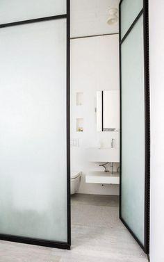 Geätzte Glas gerahmte Türen für ein Badezimmer