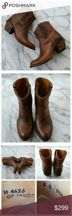 """Lucchese Janis Boot M4636 Short leather cowboy boots with studded trim in Peanut, medium warm brown. Distressed leather upper, rounded toe, side zip, bronze stud trim on boot pull and heel. Padded footbed, leather lining, heel and sole. Heel height 2.5"""", shaft height 6.5"""", length 10.5"""", width 3.5"""". Made in Mexico. Some wear on bottoms of soles, see last set of photos.  EUC. Lucchese Shoes Ankle Boots & Booties"""
