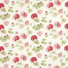 Geranuim Pale Cranberry Red Linen Cotton Mix Curtain Fabric