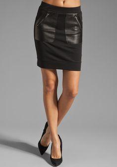 DAVID LERNER Patch Pocket Skirt in Black