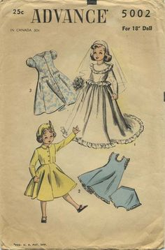 "Vintage Doll Clothes Sewing Pattern | Advance 5002 | Year 1948 | For 18"" Doll"