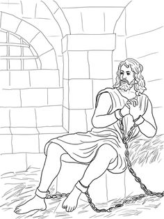 John the Baptist in Prison coloring page from John the Baptist category. Select from 27007 printable crafts of cartoons, nature, animals, Bible and many more. Bible John, Children's Bible, Bible Coloring Pages, Coloring Books, Catholic Kids, Bible Lessons For Kids, Jean Baptiste, Church Crafts, Sunday School Crafts