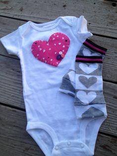 Valentines heart onesie and leggings, heart shirt, Heart leggings, Valentines Outfit, First valentines, baby shower gift. $19.95, via Etsy.