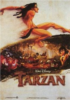 Proof that Tarzan is one of the best Disney movie. Tarzan is an underrated Disney movie. It's got a nice story, the visuals are gorgeous, and the soundtrack is Phil Collins. Tarzan Disney, Disney Pixar, Disney Films, Disney Movie Posters, Disney Wiki, Film Posters, Disney Art, Childhood Movies, Kid Movies