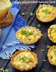 Corn and Zucchini Savoury Tarts recipe, Vegetarian Recipes Tart Recipes, Veg Recipes, Mexican Food Recipes, Vegetarian Recipes, Snack Recipes, Cooking Recipes, Cooking Tips, Mexican Menu, Recipes
