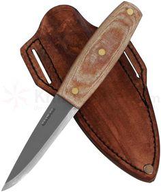 Condor Tool & Knife CTK3918-4 Primitive Mountain Knife 4 inch Carbon Steel Blade, Micarta Handles, Leather Sheath