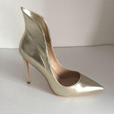 59d098348be Light Gold Women Pumps Pointed Toe Slip-On High Heel Big Size 12 Heels  Shoes Woman Chaussure Femme Sapatos Femininos De Salto