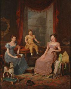 Circle of Baron Francois Gérard, Family Portrait  in interior, 1810s