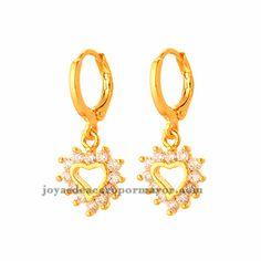 pendientes de forma corazon cristal en cobre dorado para mujer -BREGG93394