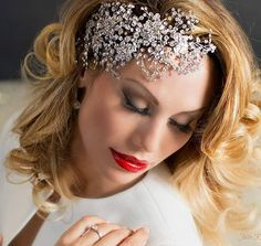 Captivating Kate modeling one of our stunning dramatic crystal bridal head  pieces! 0b4c94b23bf