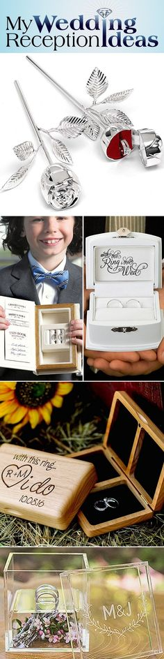 Wedding Ring boxes are a wonderful alternative to traditional ring pillows that may be better suited for your ring bearer, no matter his age. There are many types of ring boxes available for every style of wedding, from contemporary to rust and Bohemian. A ring box, personalized with the bride and groom's names or initials, wedding date or a short phrase to commemorate the day make timeless keepsake reminders of the bride and groom's wedding vows.