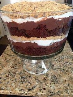 1 box Devils food cake 1 large box chocolate pudding 1 Hershey chocolate bar 2 cups crushed graham cracker crumbs 1 container Cool Whip  Directions: Prepare Devils food cake mix and bake as directed on box. Allow cake to cool completely. Prepare chocolate pudding mix as directed on box. Crumble cake into small pieces. In a trifle bowl, place half of cake crumbles in bottom of dish. Next, layer half of the chocolate pudding on top of cake. Follow it up by topping with half the cool whip…