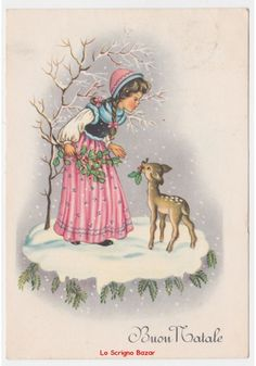 cartolina augurale Buon Natale vintage fg neve bambina cerbiatto ramo agrifoglio