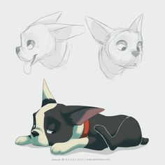 Winston by azzai on DeviantArt. This is the dog from the Pixar short! I love this little guy! Disney Kunst, Disney Art, Animal Sketches, Animal Drawings, Animal Design, Dog Design, Disney Drawings, Cartoon Drawings, Bulldogge Tattoo