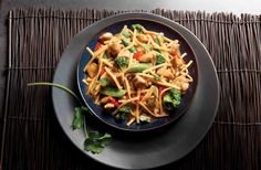 Asian Vegetables and Chicken in a Spicy Peanut Sauce