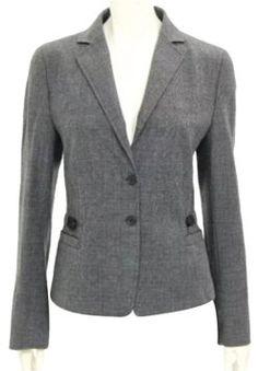 d79fc207 Akris Punto Plaid Wool 2-button Jacket Size Us 10 Grey & Black Blazer -