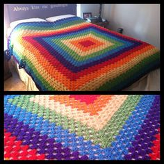 Rainbow blanket I crocheted!