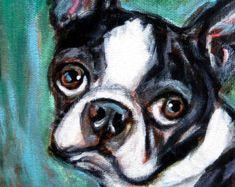 Cute Boston Terrier portrait art Original Dog Painting by Angie Ketelhut