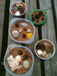 Mud pie - sensory play with loose parts - Butterflies Childminding Outdoor Play Kitchen, Mud Kitchen For Kids, Mud Pie Kitchen, Outdoor Play Spaces, Games For Kids, Art For Kids, Family Day Care, Natural Playground, Environmental Education
