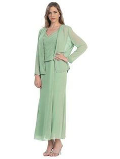 Cute sage plus size mother of the bride / groom dresses with long jacket 1x, 2x, 3x, 4x and 5x plus 2014 - 2015