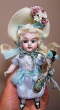 "5 1/2"" All Bisque Antique German Kestner doll with Glass eyes"