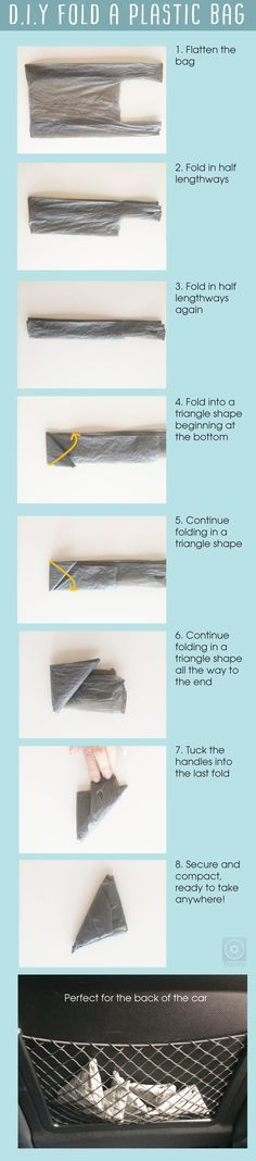 How to fold a plastic bag so you can save space, keep them in your handbag, baby bag or car, great when you walk the dog too. Easy to do and go green at the same time. Visit http://www.tomfo.com/how-to-fold-a-plastic-bag-save-space-and-go-greener