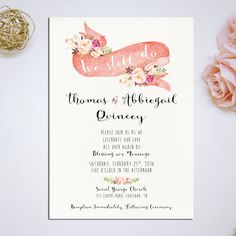 "Vow Renewal Invitation, ""We Still Do"" Romantic pink floral Custom Printable Invitation Card DIY Wedding"