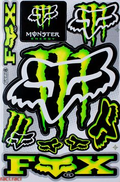 Green Monster Energy FOX RACING Sticker Decal Supercross By RaciRaci 650 Racing Stickers