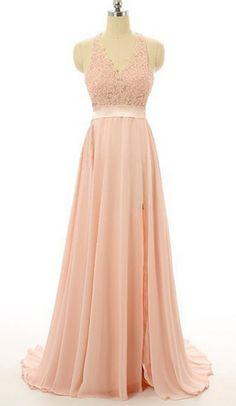Light pink chiffon prom dresses,lace V-neck backless slit A-line long prom dress,formal dresses