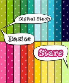 Stars Digital Paper, INSTANT DOWNLOAD, Commercial use ok, bright colors, Stars pattern, digital scrapbooking papers  Feed your stash with these stars