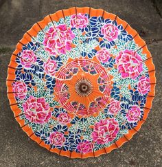 ANTIQUE JAPANESE PAPER BAMBOO HAND PAINTED PINK ROSES BUTTERFLY UMBRELLA PARASOL