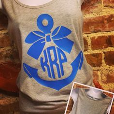 Anchor monogram tank top with bow.
