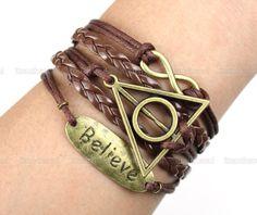 Bracelet-Believe bracelet / karma bracelet / infinity wish bracelet /The Deathly Hallows Bracelet / Harry Potter Jewelry. $6.99, via Etsy.