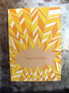 Birthday Card #orange #yellow #chevron #card #letterpress
