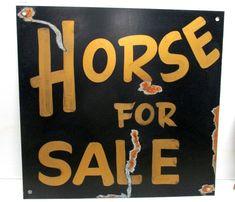 Vintage Rustic Primitive Metal HORSE FOR SALE Barn Stable Painted Farm sign #Pierce