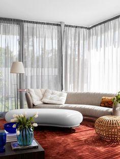 An ultra-modern family home in Brighton softened with colour | Belle Modern Family, Home And Family, Glass Pavilion, Edwardian House, Australia Photos, Modern Aesthetics, Australian Homes, Bedroom Doors, Interior Design