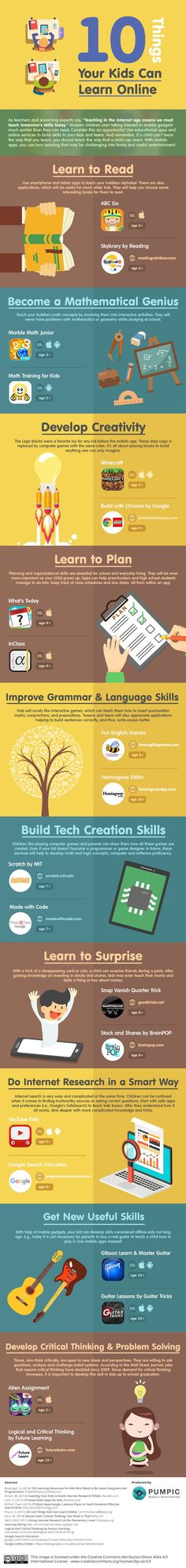 10 Things Your Kids Can Learn Online #[infographic]