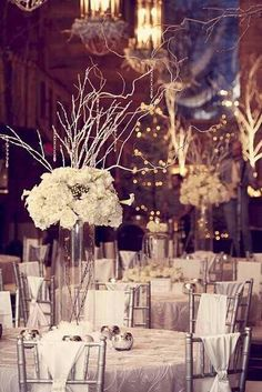 Winter wedding, twisted willow, Centre piece