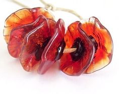 Handmade Lampwork Glass Flower Beads Fairy by mermaidglass
