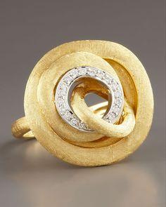 Ring   Marco Bicego.  18k yellow gold, Pave white diamonds.