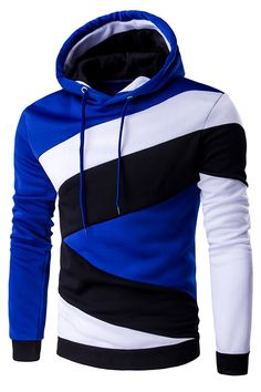 $15.79 Color Blocks Spliced Long Sleeve Hoodie