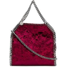 Stella Mccartney Falabella Mini Tote Bag in Crushed Velvet ($850) ❤ liked on Polyvore featuring bags, handbags, tote bags, violet, stella mccartney handbags, tote handbags, mini purse, top handle purse and purple purse